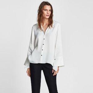 ✨ Zara White Satin Button Down Blouse ✨